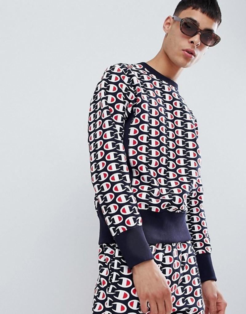 チャンピオン メンズ パーカー・スウェット アウター Champion reverse weave sweatshirt with all over print in navy Navy