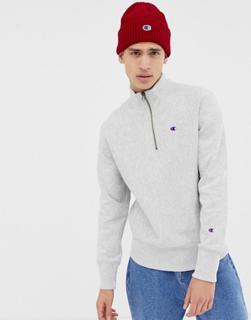 チャンピオン メンズ パーカー・スウェット アウター Champion reverse weave 1/4 zip sweatshirt with small logo in gray Grey