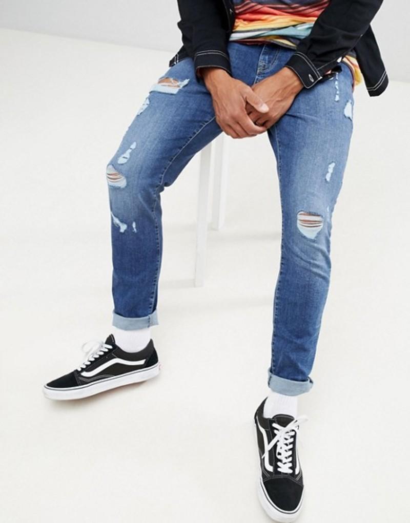 ブルックリンサプライ メンズ デニムパンツ ボトムス Brooklyn Supply Co skinny fit jeans in indigo with thigh rip Indigo