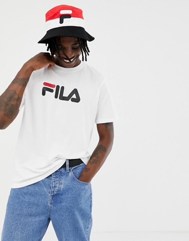 フィラ メンズ Tシャツ トップス Fila Black Line T-shirt With Large Logo In White White, テシオチョウ:c05c966f --- broadband-navi.jp