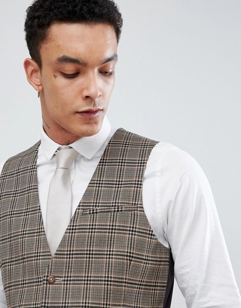 エイソス メンズ タンクトップ トップス ASOS DESIGN skinny suit vest in wool blend camel check Camel