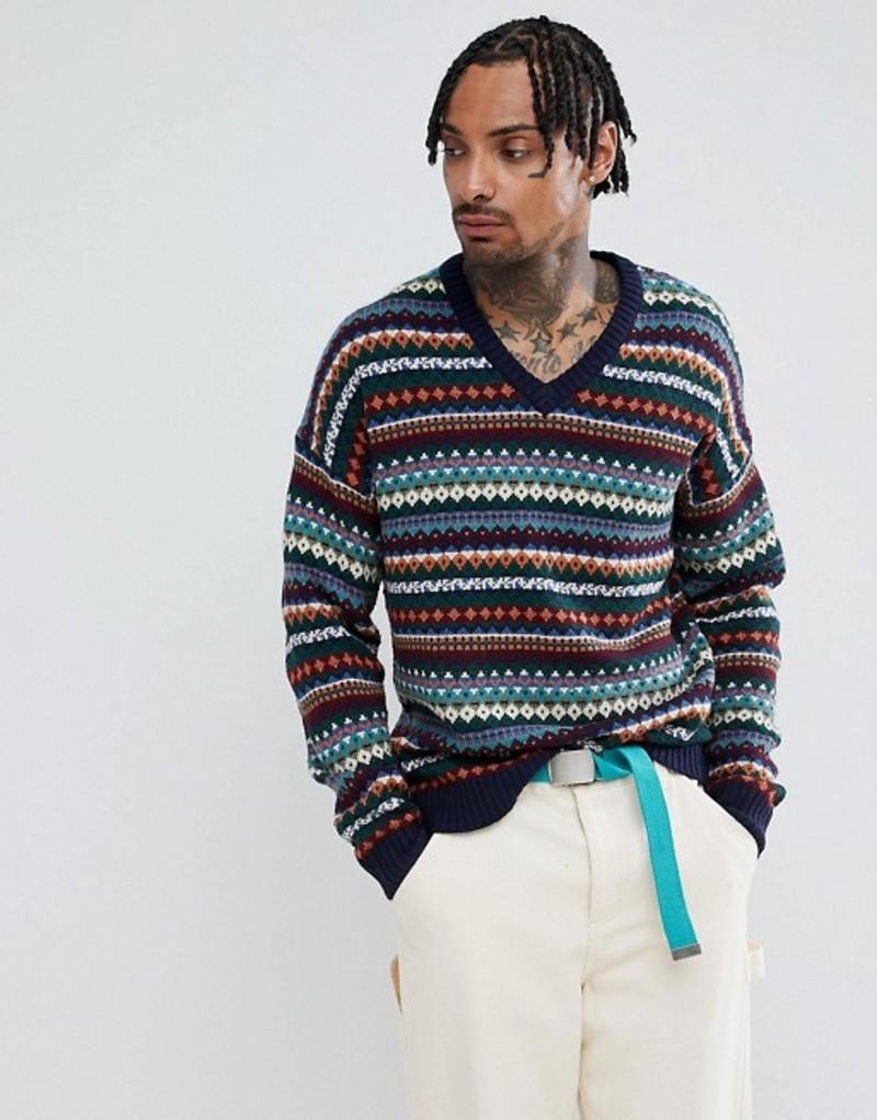 エイソス メンズ ポロシャツ トップス ASOS DESIGN V-neck fairisle sweater in navy Navy