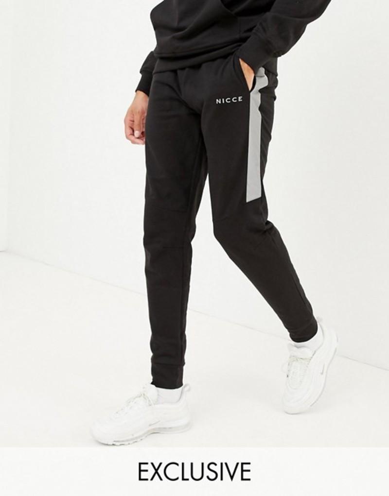 ニースロンドン メンズ カジュアルパンツ ボトムス Nicce skinny joggers in black with reflective panels exclusive to ASOS Black