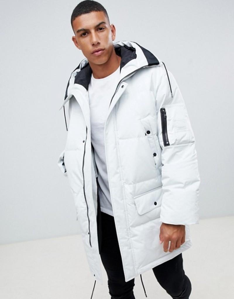 フューゴ メンズ パーカー・スウェット アウター HUGO Belmu down padded parka jacket with taped logo hood in white White