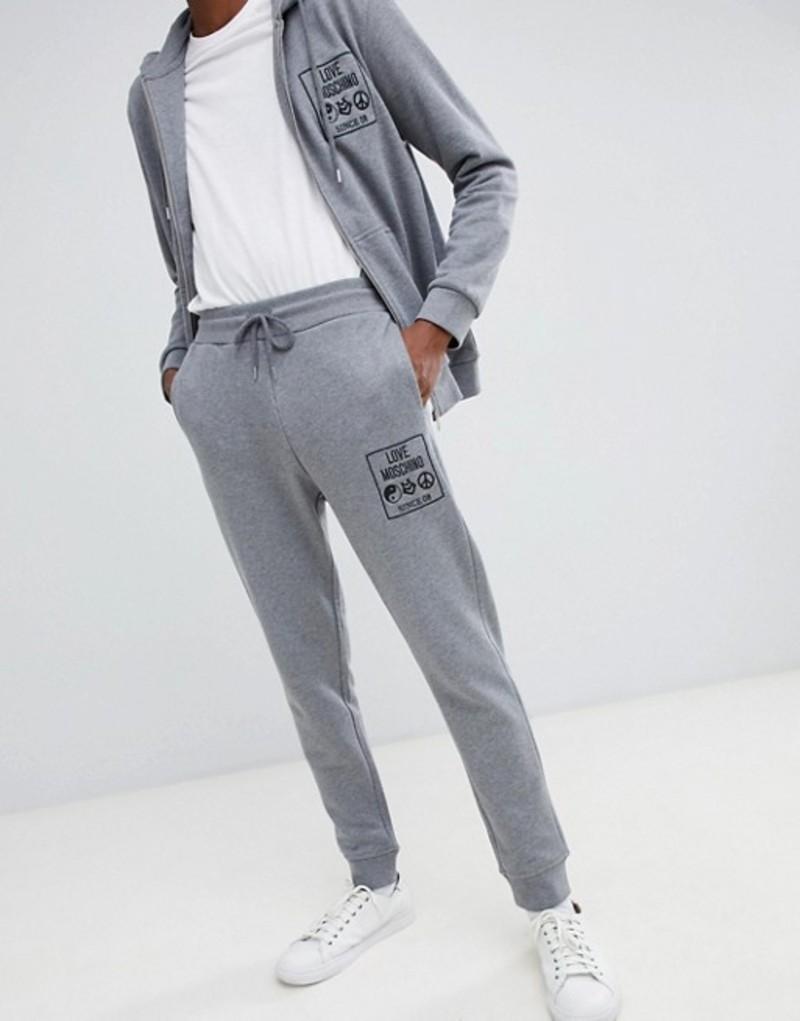 ラブ モスキーノ メンズ カジュアルパンツ ボトムス Love Moschino skinny logo joggers in gray Grey