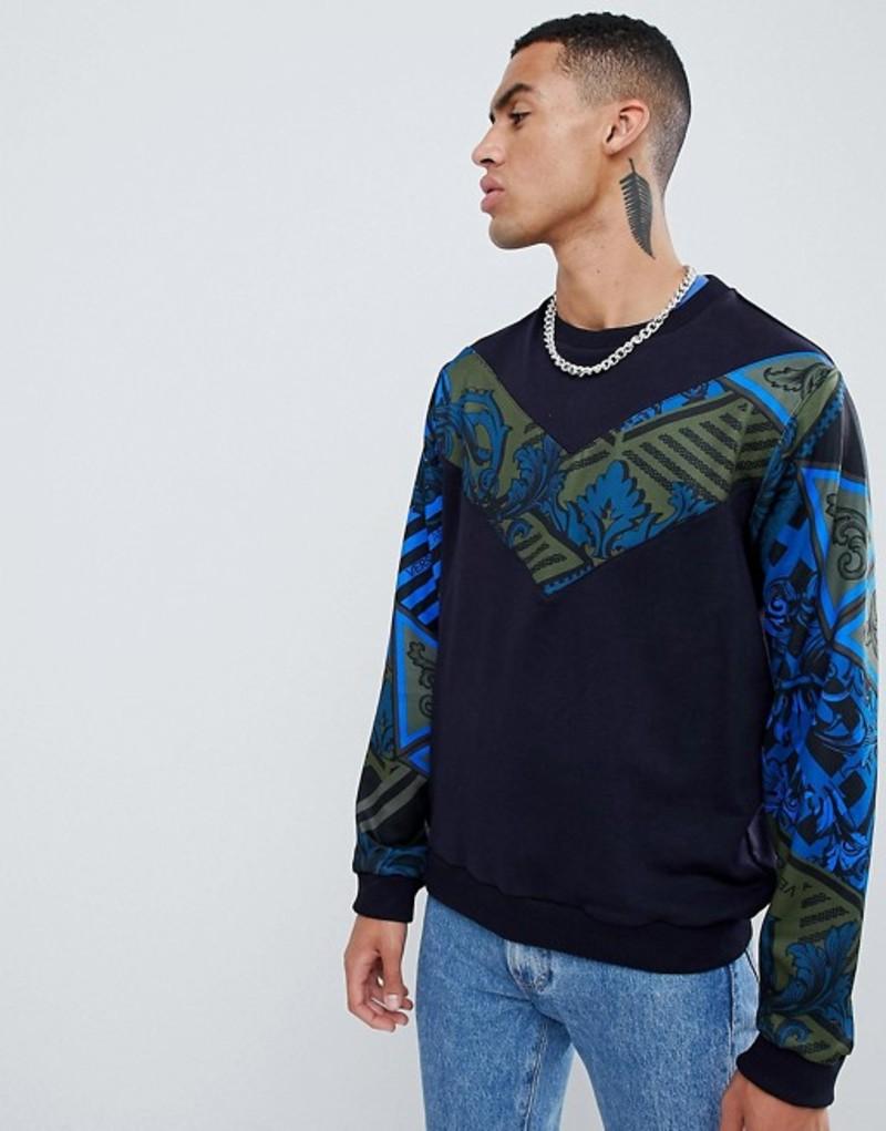 ヴェルサーチ メンズ パーカー・スウェット アウター Versace Jeans sweatshirt with blue chevron print Blue