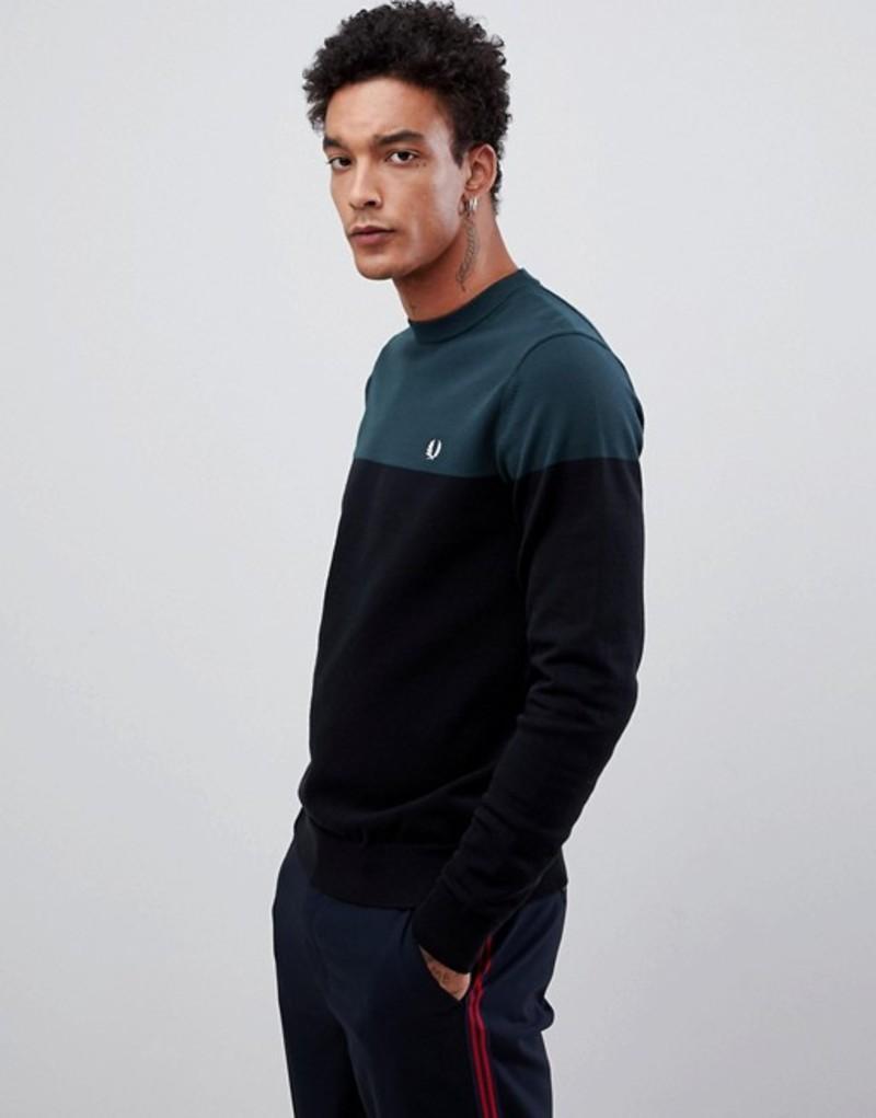 フレッドペリー メンズ ニット・セーター アウター Fred Perry paneled crew neck knitted sweater in black/green Black