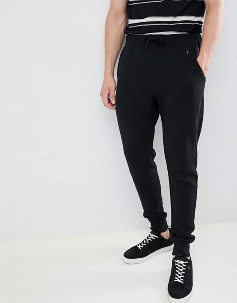 オールセインツ メンズ カジュアルパンツ ボトムス AllSaints cuffed jogger in black with ramskull logo Black