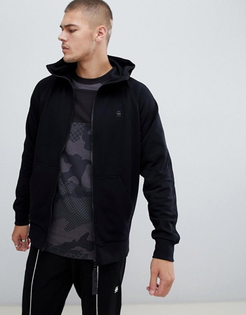 ジースター メンズ パーカー・スウェット アウター G-Star high zip hoodie in black Black
