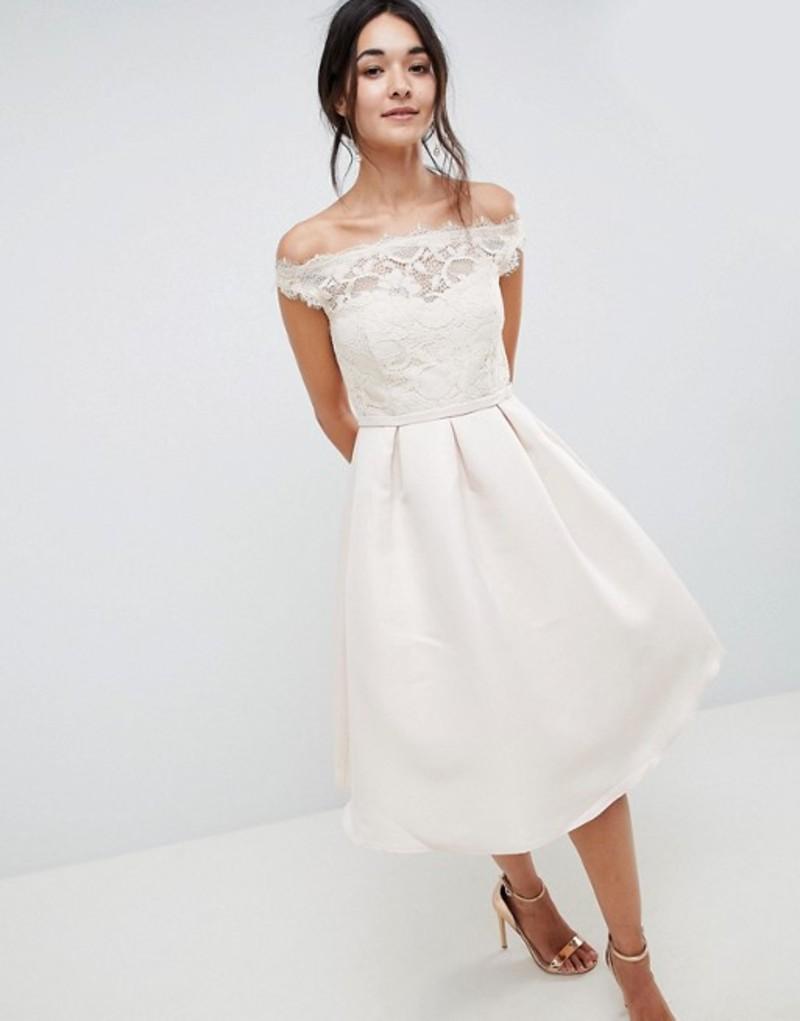 リトルミストレス レディース ワンピース トップス Little Mistress Bardot Midi Dress In With Premium Lace Top And Pleated Skirt Beige