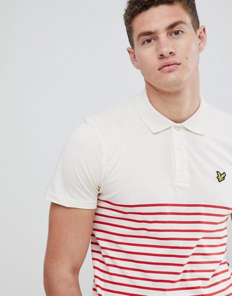 ライルアンドスコット メンズ ポロシャツ トップス Lyle & Scott breton stripe polo shirt in white/red White