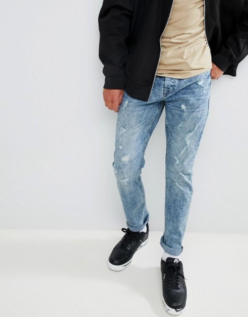 オンリーアンドサンズ メンズ デニムパンツ ボトムス Only & Sons Distressed Tapered Fit Jeans Blue denim
