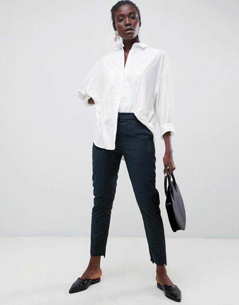 セレクティッド レディース カジュアルパンツ ボトムス Selected Femme Pinstripe Tailored PANTS Green