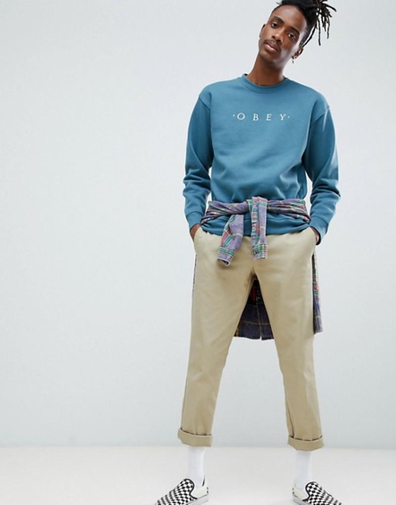 オベイ メンズ パーカー・スウェット アウター Obey Nouvelle sweatshirt in gray Blue