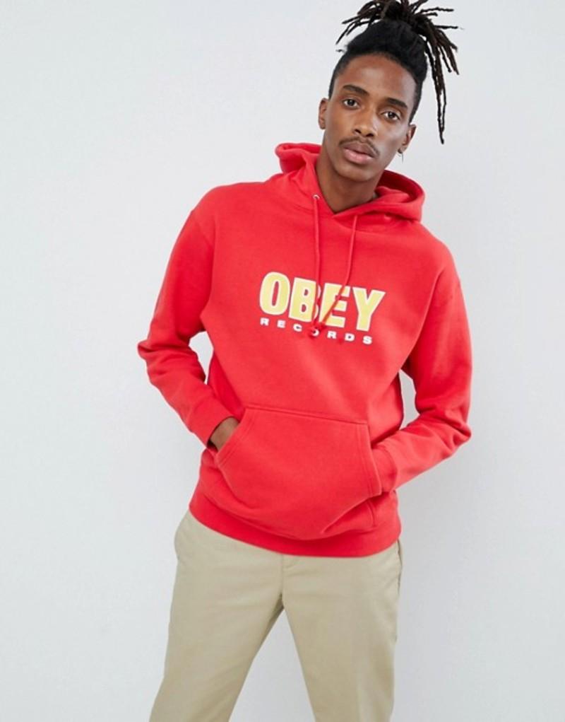 オベイ メンズ パーカー・スウェット アウター Obey records hoodie in red Red