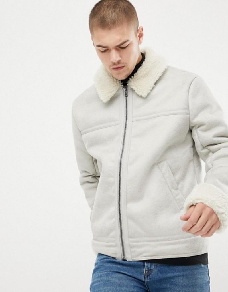 エイソス メンズ ジャケット・ブルゾン アウター ASOS DESIGN faux shearling jacket in stone Stone