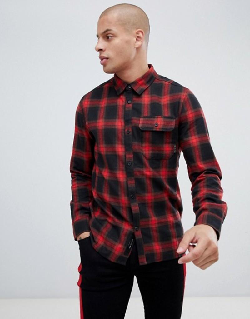 レリジョン メンズ シャツ トップス Religion Slim Fit Check Shirt In Red Red