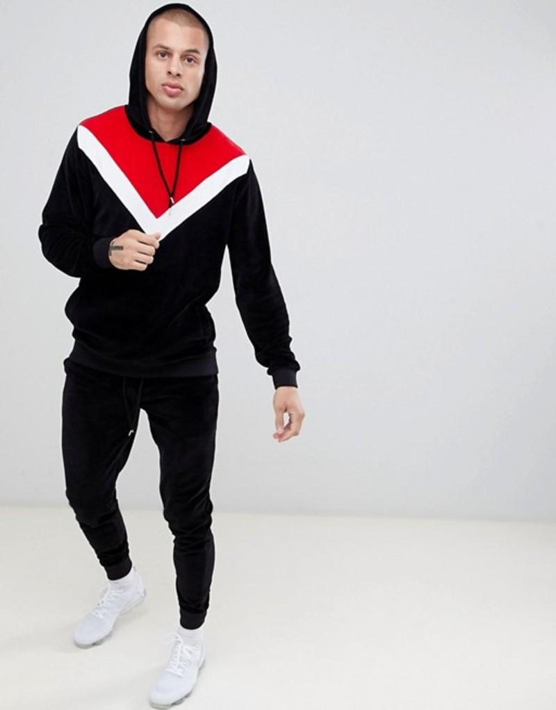 エイソス メンズ パーカー・スウェット アウター ASOS DESIGN tracksuit hoodie/ skinny joggers in velour with chevron color blocking in black Black