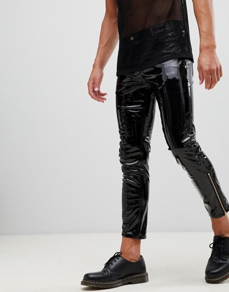 エイソス メンズ デニムパンツ ボトムス ASOS DESIGN 'Stefan' skinny jeans in black vinyl with zip hem Black