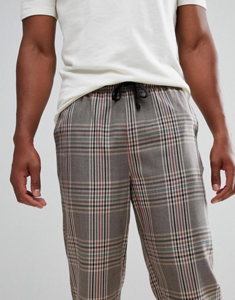 エイソス メンズ カジュアルパンツ ボトムス ASOS DESIGN relaxed skater pants in brown check Brown