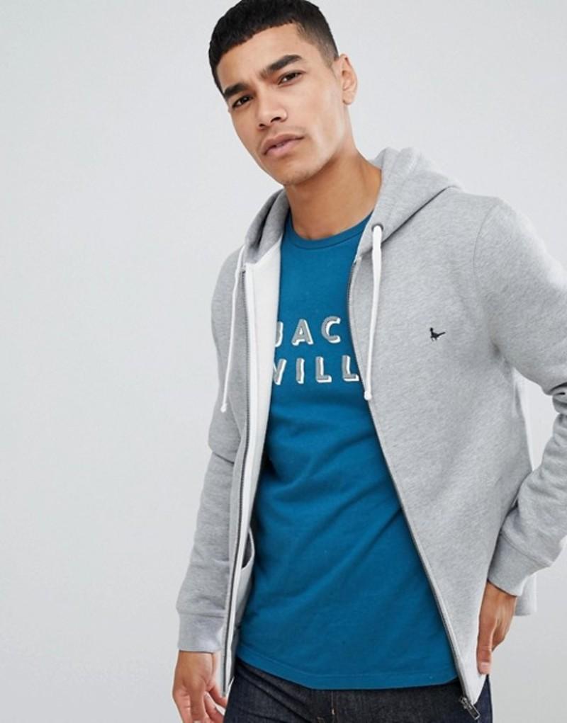 ジャック ウィルス メンズ パーカー・スウェット アウター Jack Wills Pinebrook zip-thru logo hoodie in gray Grey marl