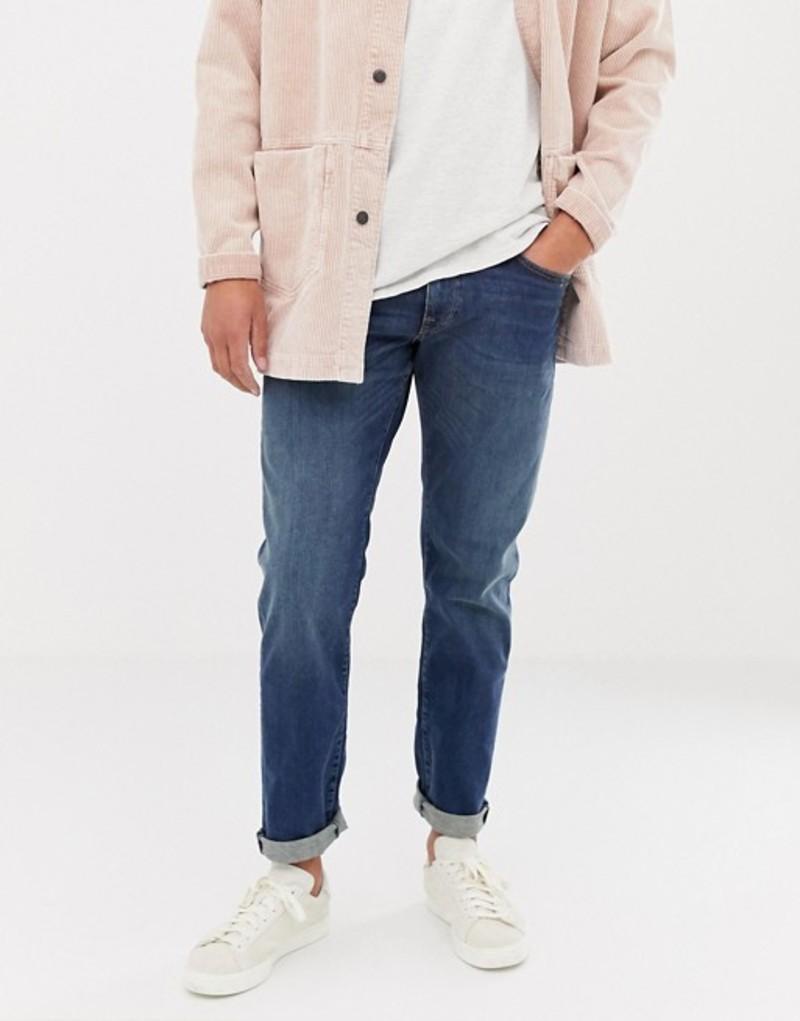 セレクテッドオム メンズ デニムパンツ ボトムス Selected Homme jeans in straight fit Medium blue denim