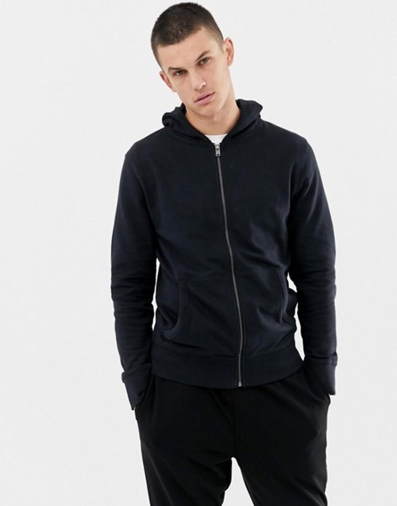 セレクテッドオム メンズ パーカー・スウェット アウター Selected Homme hooded zip through sweat Black beauty