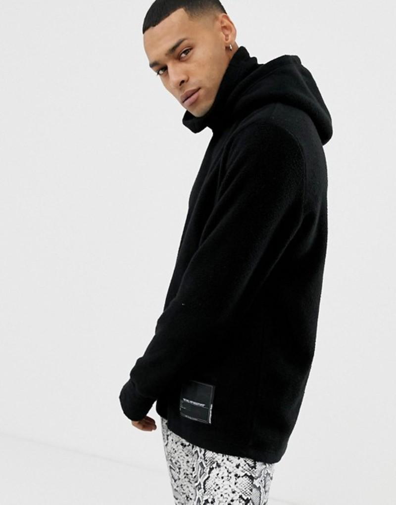 チープマンデー メンズ パーカー・スウェット アウター Cheap Monday High Neck Scope Hoodie In Black Black