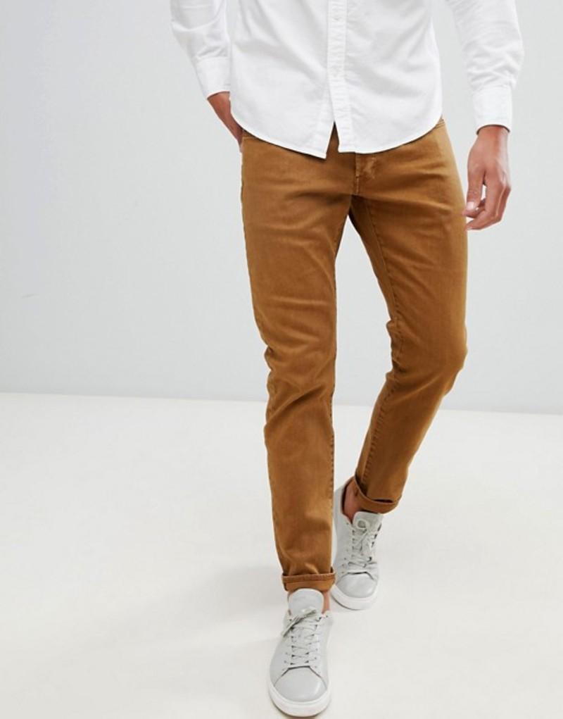 ジースター メンズ デニムパンツ ボトムス G-Star 3301 deconstructed overdye slim jeans oxide ocre Tan