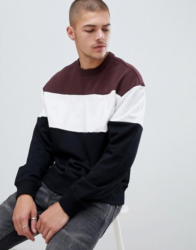 ジースター メンズ パーカー・スウェット アウター G-Star color block logo sweatshirt in black & purple Dk black/dk fig