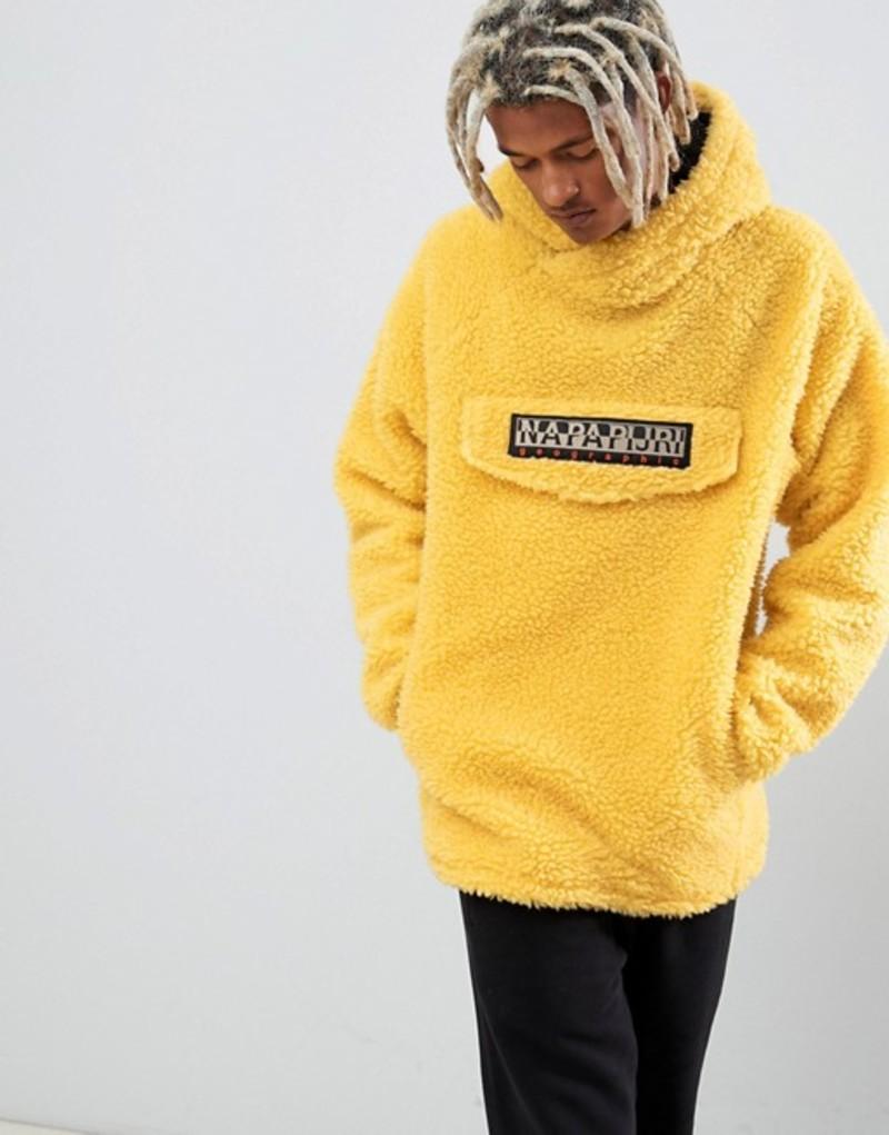 ナパピリ メンズ パーカー・スウェット アウター Napapijri Telve oversized borg hoodie in yellow Yellow
