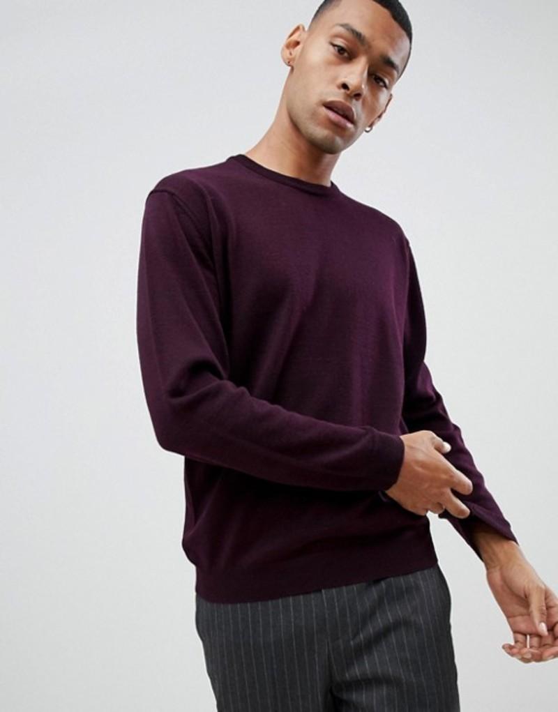 モス ブラザーズ メンズ ニット・セーター アウター Moss London merino crew neck sweater in burgundy Burgundy