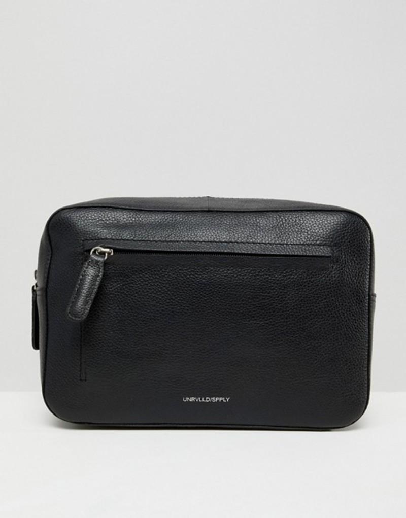 エイソス メンズ ボディバッグ・ウエストポーチ バッグ ASOS DESIGN leather toiletry bag in black Black