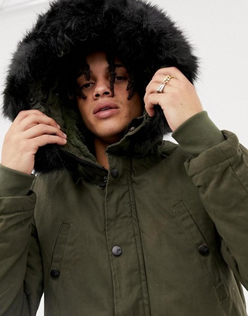 シックスジュン メンズ パーカー・スウェット アウター Sixth June parka coat in khaki with black faux fur hood Green