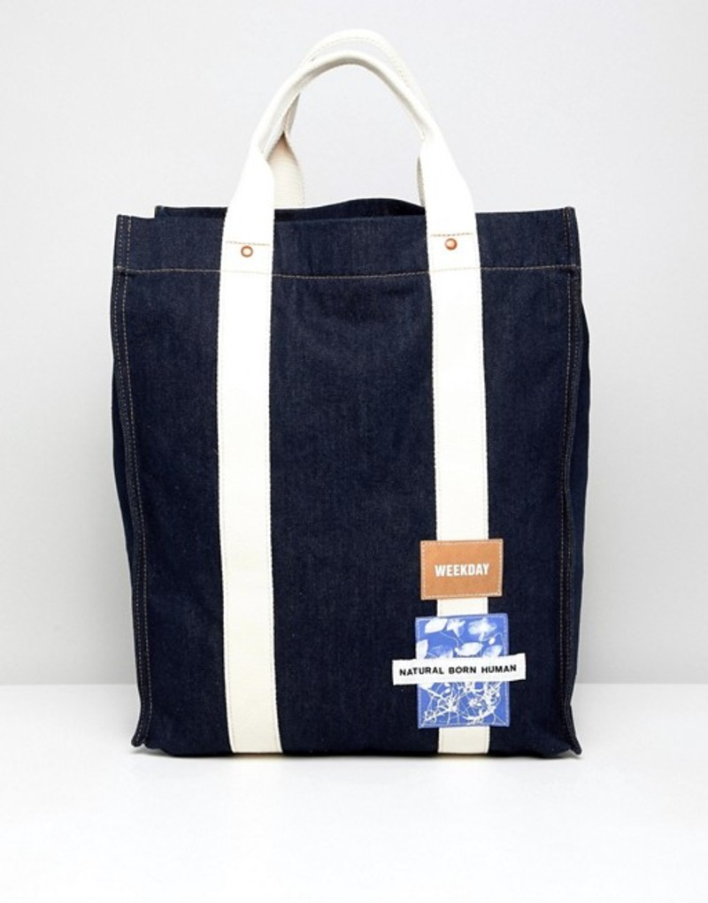 ウィークデイ メンズ トートバッグ バッグ Weekday Limited Edition Wisconsin tote bag in denim Denim