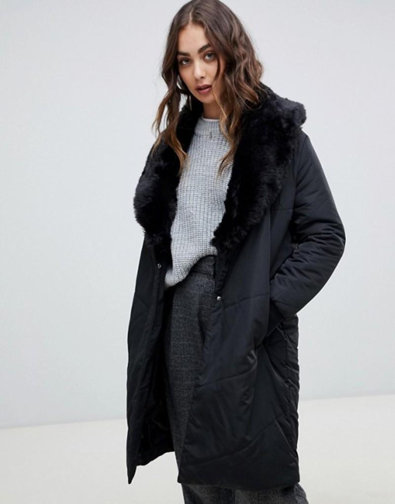 レリジョン レディース コート アウター Religion cover duvet coat with faux fur collar Jet black