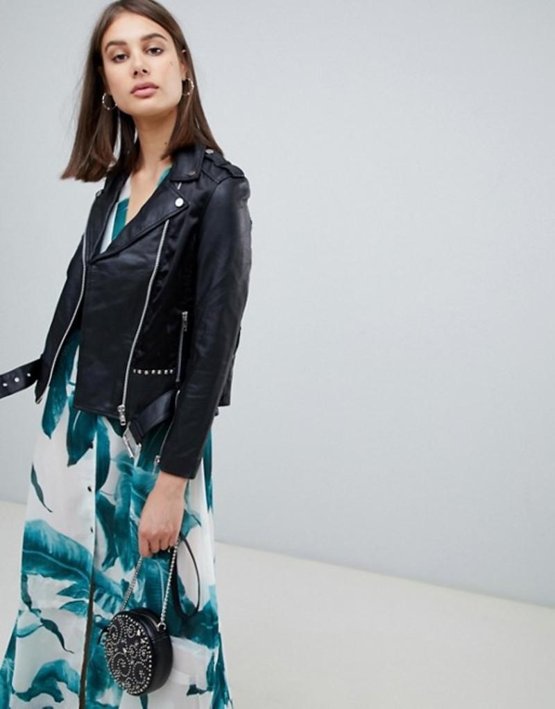 レリジョン レディース ジャケット・ブルゾン アウター Religion fidelity leather jacket with studs and skull Jet black