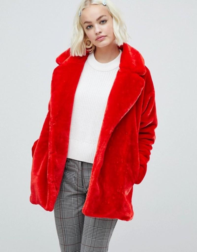 モンキ レディース ジャケット・ブルゾン アウター Monki faux fur jacket in red Red