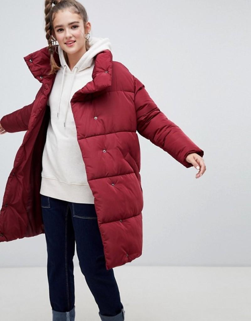 モンキ レディース ジャケット・ブルゾン アウター Monki longline puffer jacket Red