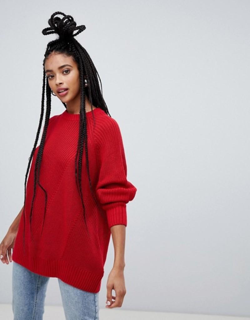 モンキ レディース ニット・セーター アウター Monki longline textured sweater in red Red