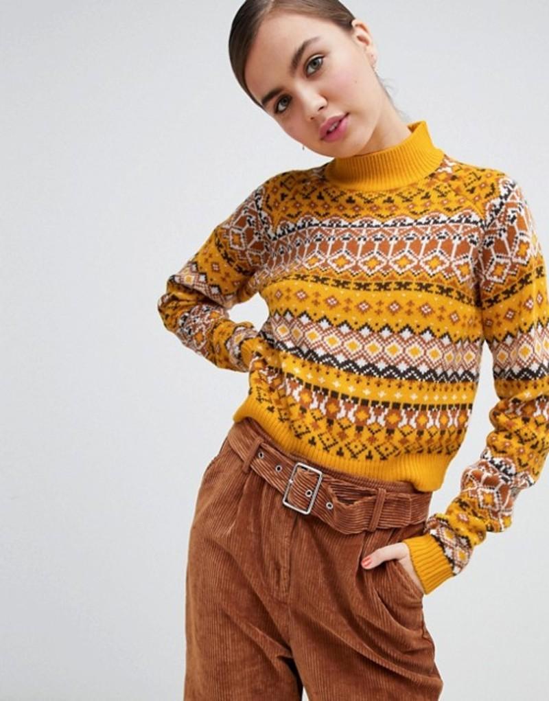 モンキ レディース ニット・セーター アウター Monki high neck cropped fairisle sweater in yellow Yellow