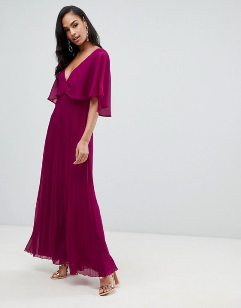 エイソス レディース ワンピース トップス ASOS DESIGN flutter sleeve maxi dress with pleat skirt Berry