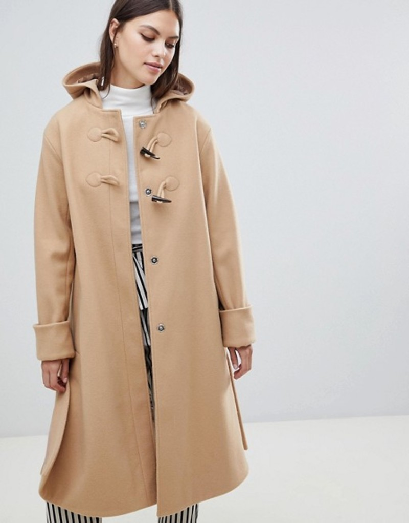 エイソス レディース コート アウター ASOS DESIGN minimal duffle coat Camel
