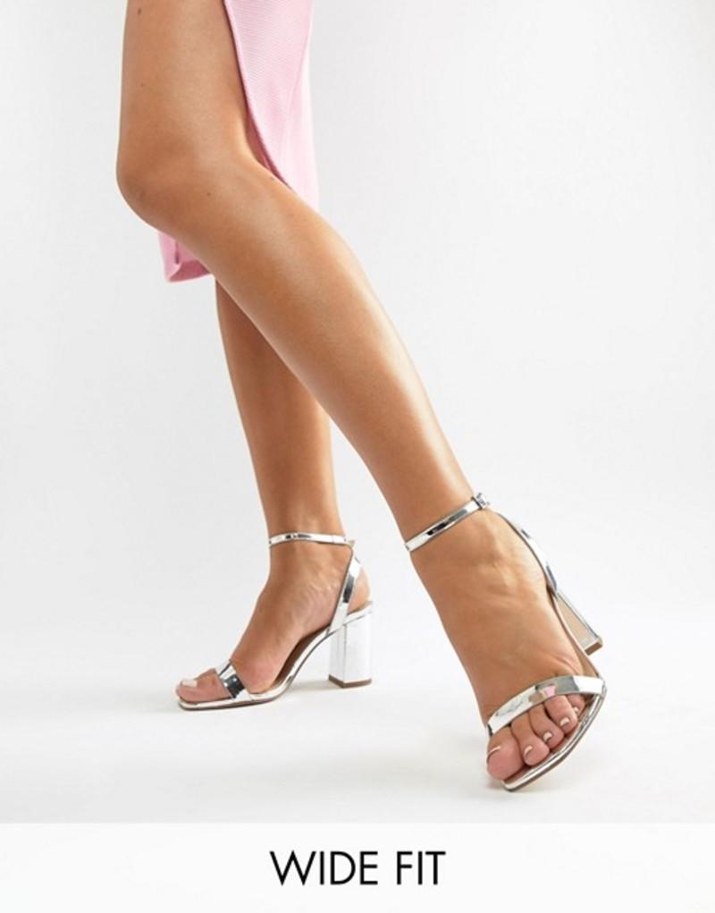エイソス レディース ヒール シューズ ASOS DESIGN Wide Fit Hong Kong Barely There Block Heeled Sandals Silver