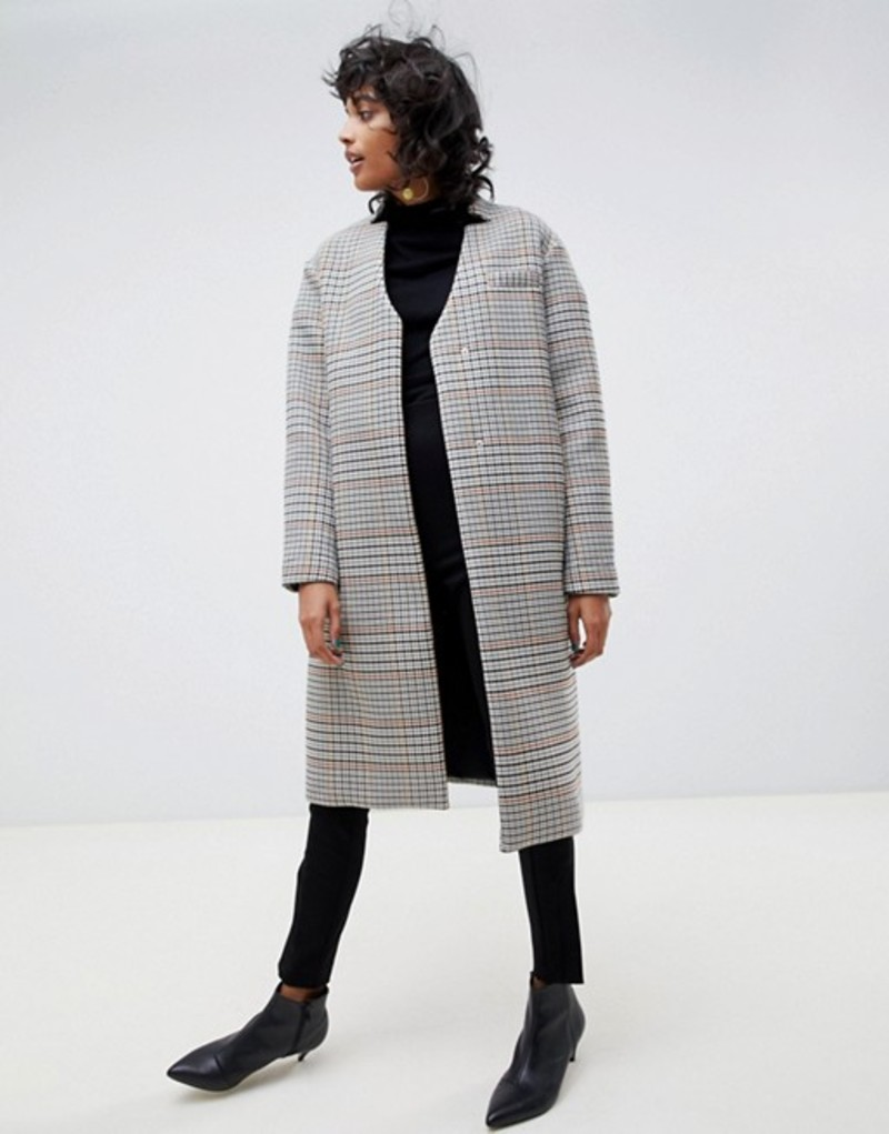 エイソス レディース コート アウター ASOS WHITE check coat with neck tie detailing Multi check