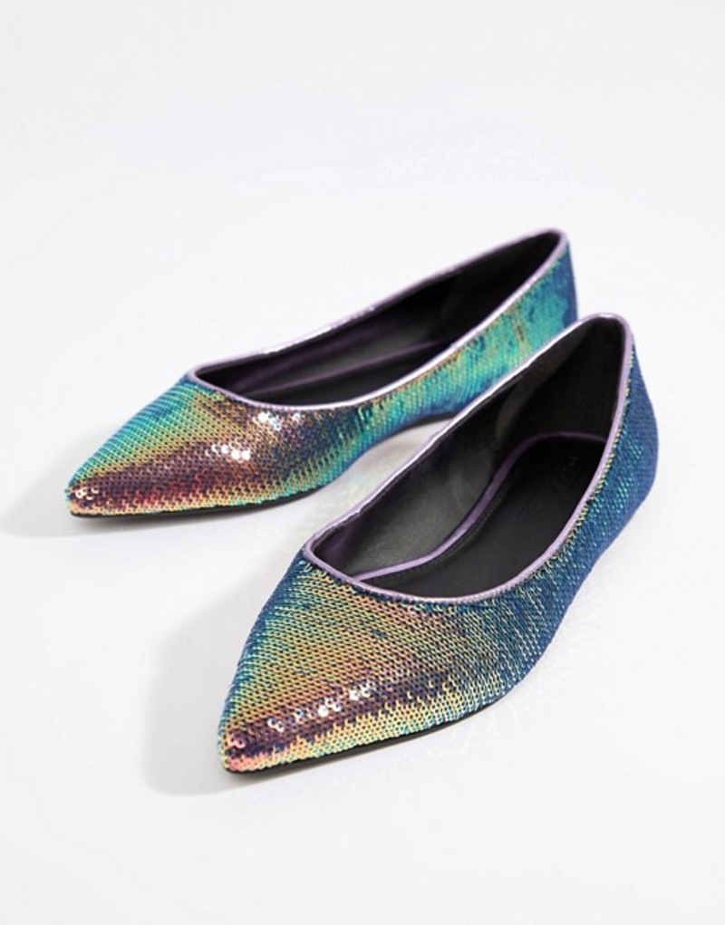 エイソス レディース パンプス シューズ ASOS DESIGN Latch sequin pointed ballet flats Multi sequin