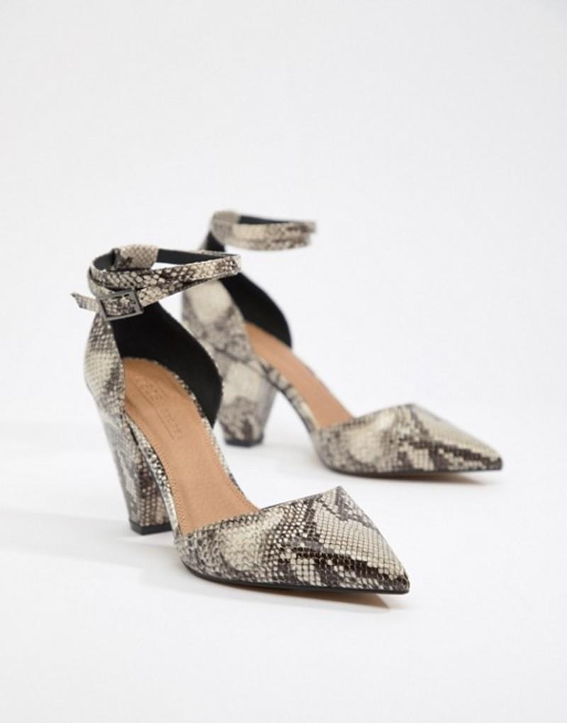 エイソス レディース ヒール シューズ ASOS DESIGN Speakeasy pointed mid heels in snake print Snake