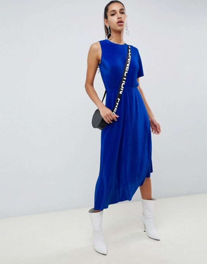 エイソス レディース ワンピース トップス ASOS DESIGN midi plisse dress with one shoulder and wrap back Electric blue