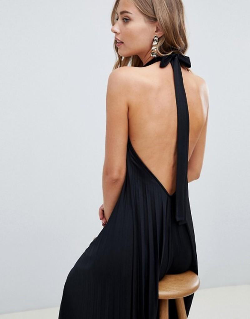 ASOS DESIGN Vanessa Backless Halter Pleated Maxi Dress Black レディース ワンピース トップス エイソス
