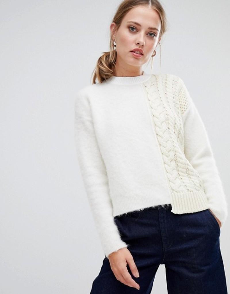 スポートマックス レディース ニット・セーター アウター Sportmax Code Fluffy and Cable Knit Sweater White